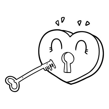 Cartoon heart with key Çizim