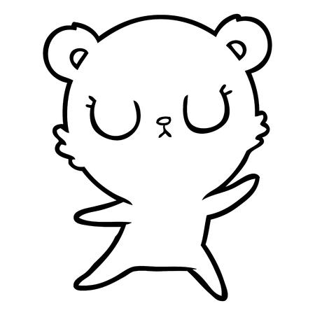 A peaceful cartoon of polar bear on white background.