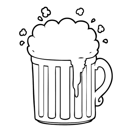 A cartoon mug of beer on white background.