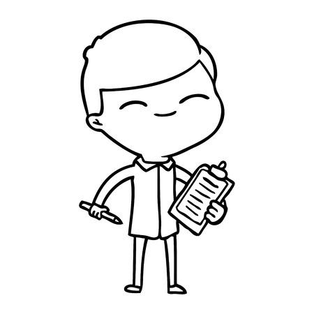 クリップボード付き漫画の笑顔の男  イラスト・ベクター素材