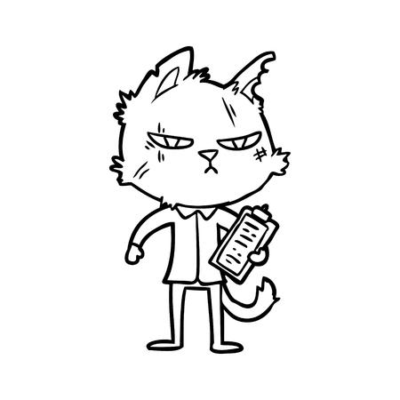 Tough cartoon cat with clipboard