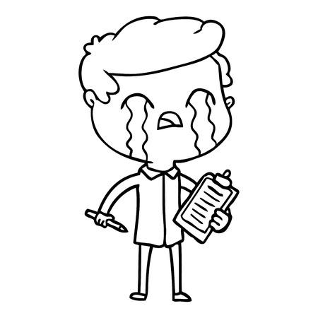 白い背景に泣くセールスマンの漫画。