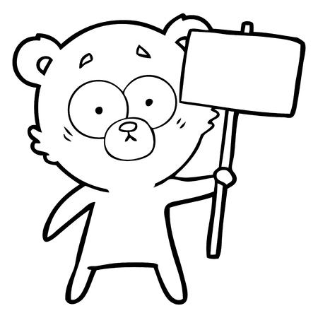 抗議のサインを持つ神経質なホッキョクグマの漫画
