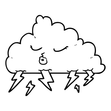白い背景に漫画の雷雲。