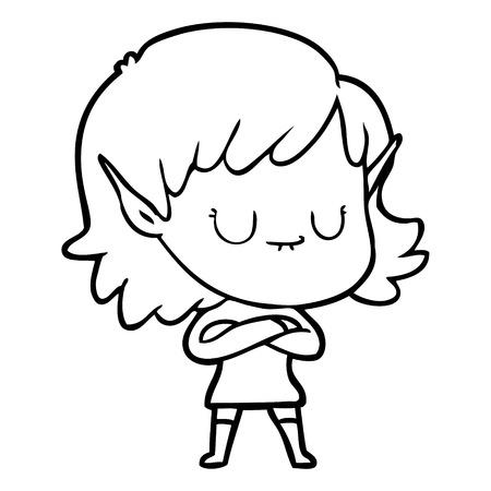 A happy cartoon elf girl on white background. Illustration