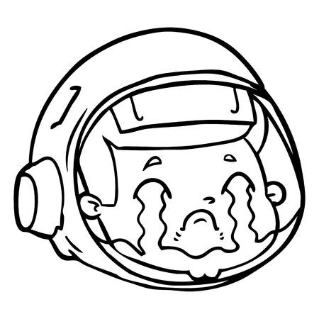 Cartoon astronaut gezicht huilen