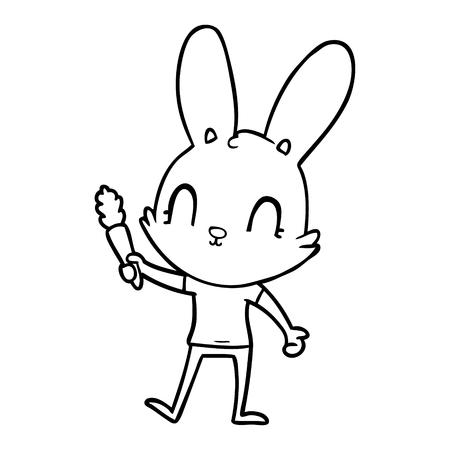 cute cartoon rabbit with carrot