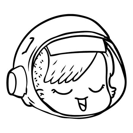 Black and white cartoon astronaut face