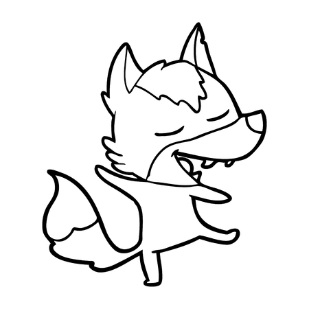 A cartoon wolf laughing on white background.