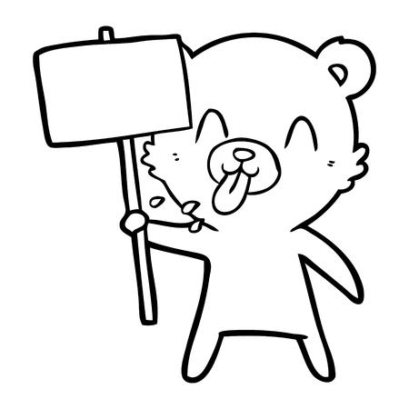 A rude cartoon of a bear with protest sign on white background. Ilustração