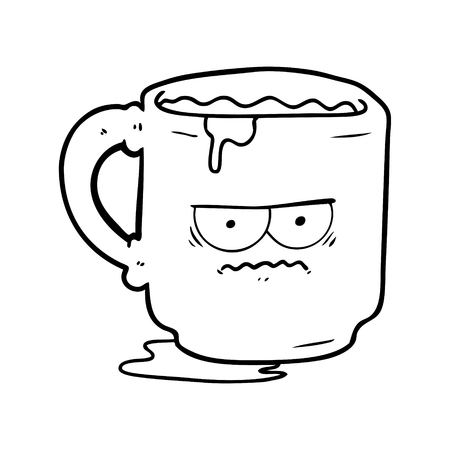 A cartoon of dirty office mug on white background.
