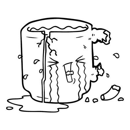 A cartoon of broken mug on white background. 向量圖像
