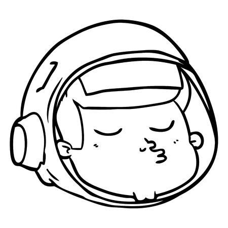 Een cartoon van astronautengezicht op witte achtergrond.