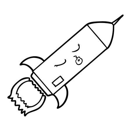 白い背景にロケットの漫画。