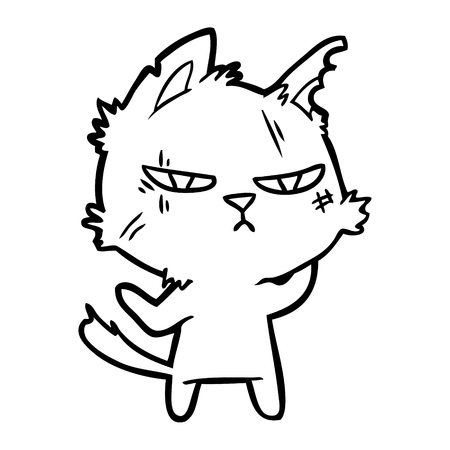 터프한 만화 고양이