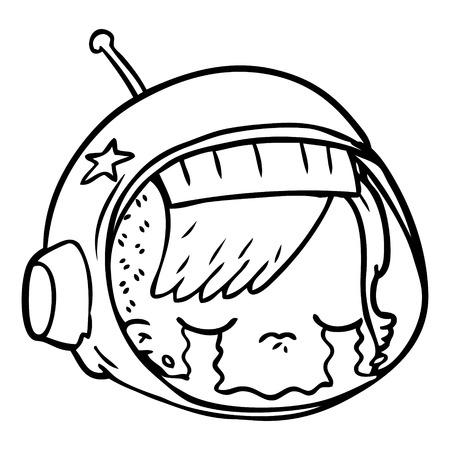 Een cartoon van astronautengezicht die op witte achtergrond huilen. Stock Illustratie