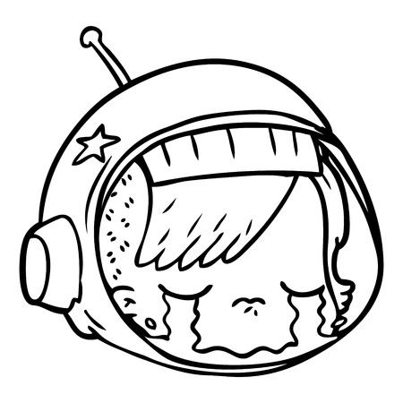A cartoon of astronaut face crying on white background.