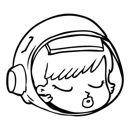 Cartoon astronaut face Illustration