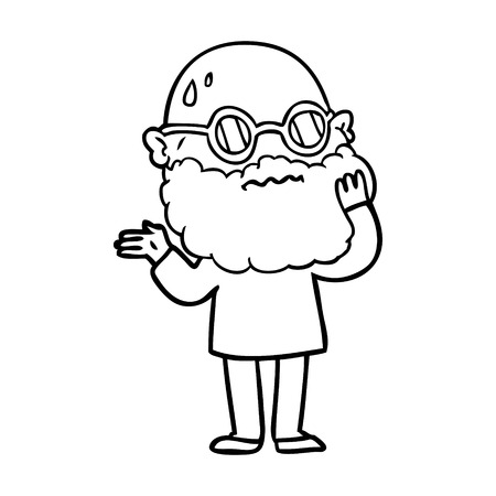 A cartoon of worried man with beard and sunglasses on white background.