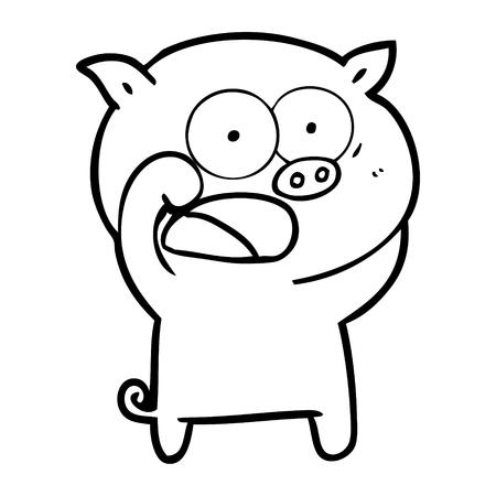 白い背景に叫ぶ豚の漫画。  イラスト・ベクター素材