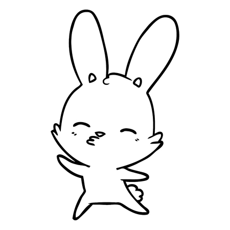 A curious waving bunny cartoon on white background. Illustration