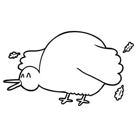 A cartoon of kiwi bird flapping wings on white background.