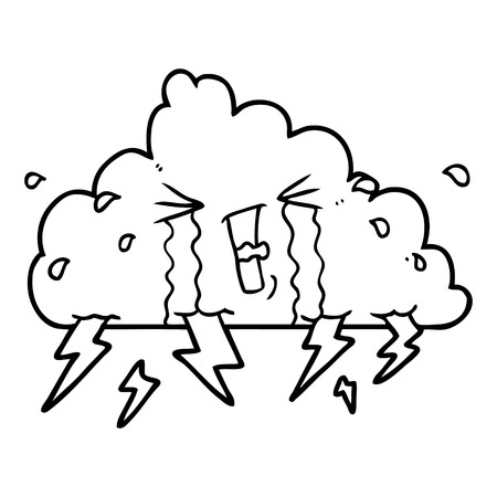 白い背景に雷雲の漫画。  イラスト・ベクター素材