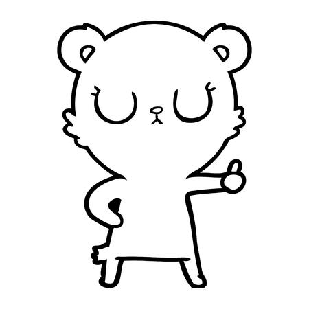 A peaceful cartoon of bear cub on white background. 向量圖像