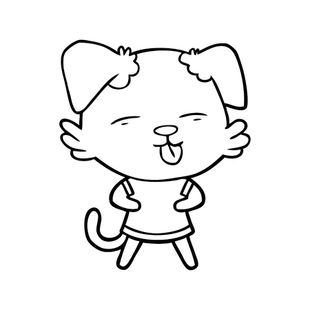 A cartoon of dog sticking out tongue on white background.
