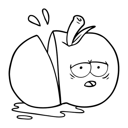A cartoon sliced apple on white background.
