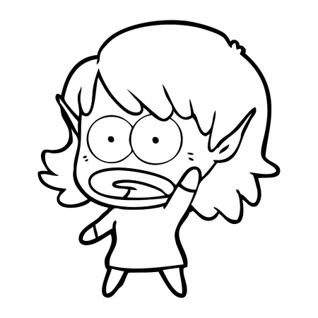 A cartoon of shocked elf girl on white background. Illustration