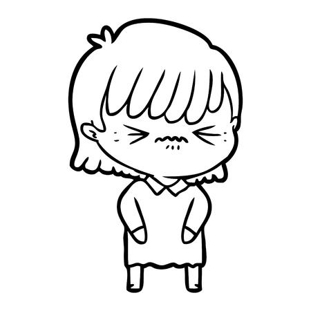 An annoyed cartoon girl on white background.