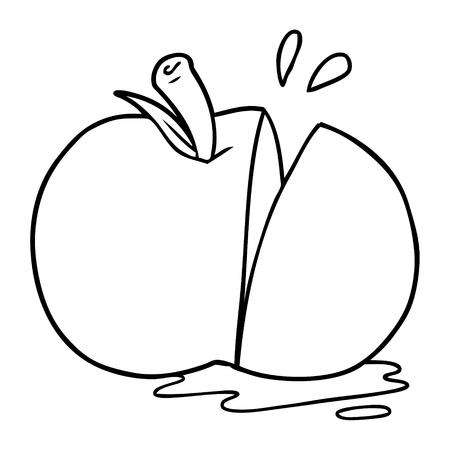 漫画は白い背景にリンゴをスライスしました。  イラスト・ベクター素材