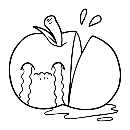A cartoon of sad sliced apple on white background.