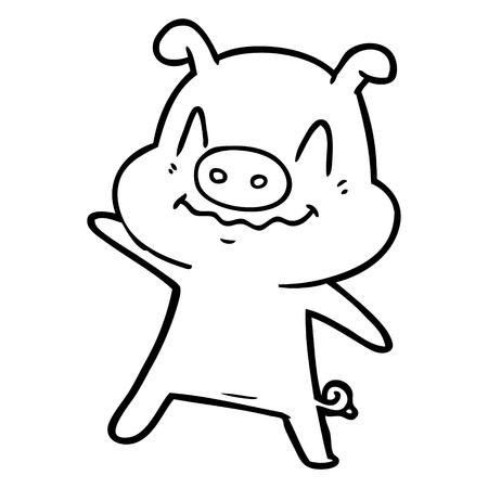 흰색 배경에 신경 만화 돼지입니다.