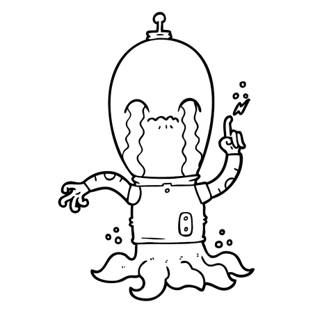 A cartoon of alien on white background.