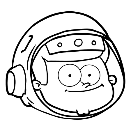 A cartoon of astronaut face on white background. Illustration