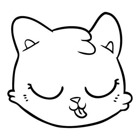 Black and white cartoon cat face