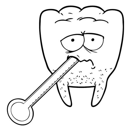 Cartoon unhealthy tooth