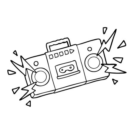 レトロな漫画のテープカセットプレーヤーは、古いロックの曲を爆破  イラスト・ベクター素材