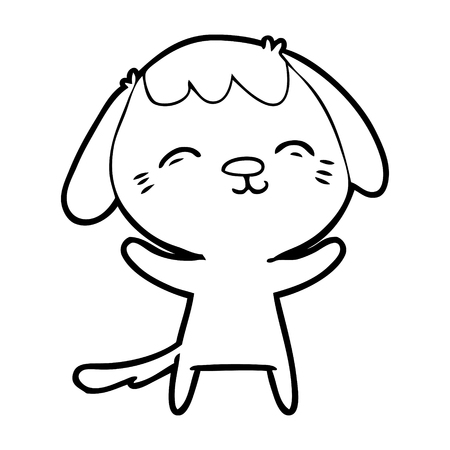 A happy cartoon of dog on white background.