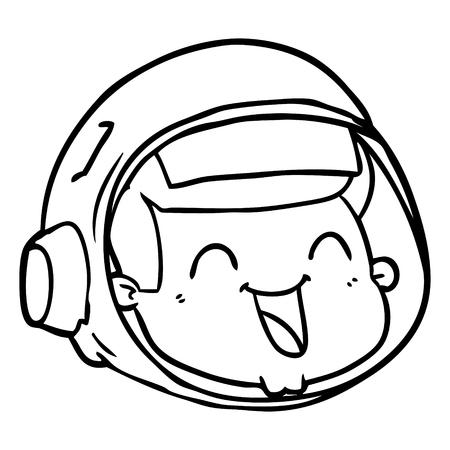 Een cartoon van gelukkig astronautengezicht op witte achtergrond.