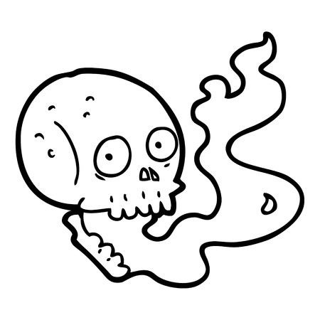 Black and white cartoon haunted skull