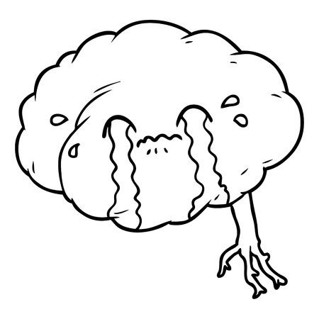 Cartoon brain with headache Illustration