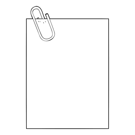 Black and white cartoon paper with paperclip