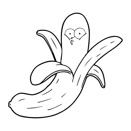 Black and white cartoon banana with face Illustration