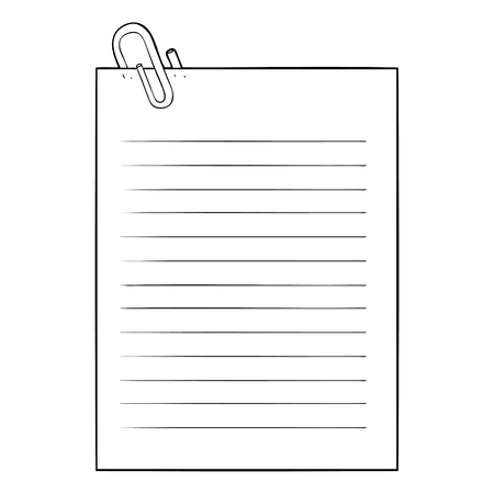 Black and white cartoon lined paper with paperclip