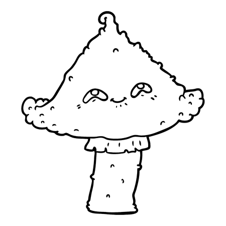 Black and white cartoon mushroom with face