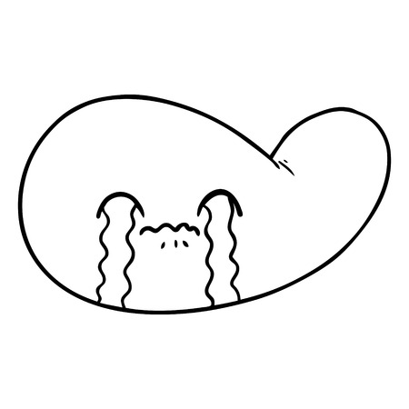 Black and white cartoon gall bladder crying Illustration