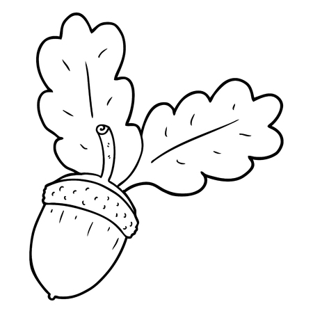 Black and white cartoon acorn